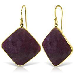 Genuine 40.5 ctw Ruby Earrings Jewelry 14KT Yellow Gold - REF-109K3V