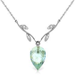 Genuine 11.27 ctw Blue Topaz & Diamond Necklace Jewelry 14KT White Gold - REF-44N3R