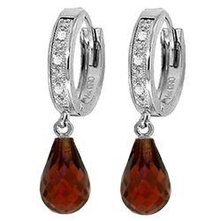 Genuine 4.54 ctw Garnet & Diamond Earrings Jewelry 14KT White Gold - REF-52T2A