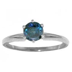 Genuine 0.50 ctw Blue Diamond Ring Jewelry 14KT White Gold - REF-135P8H