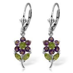 Genuine 2.12 ctw Peridot & Amethyst Earrings Jewelry 14KT White Gold - REF-42K4V