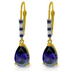 Genuine 3.18 ctw Sapphire & Diamond Earrings Jewelry 14KT Yellow Gold - REF-47R2P