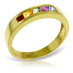 Genuine 0.60 ctw Multi-Color Sapphire Ring Jewelry 14KT Yellow Gold - REF-49Z2N