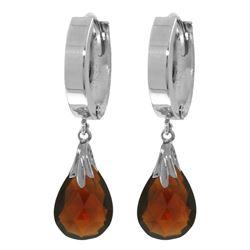 Genuine 6 ctw Garnet Earrings Jewelry 14KT White Gold - REF-47Y4F