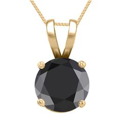 14K Yellow Gold Jewelry 0.52 ct Black Diamond Solitaire Necklace - REF#42Y2X-WJ13308