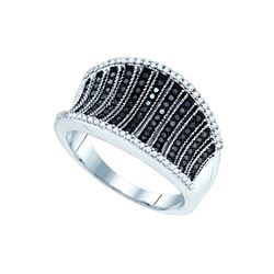 0.45 CTW Black Colored Diamond Cocktail Concave Ring 10K White Gold