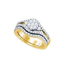 0.75 CTW Natural Diamond Flower Cluster Bridal Engagement Ring 10K Yellow Gold