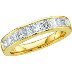 0.5 CTW Natural Channel-set Princess Diamond Ladies 3mm Size 9 Band 14K Yellow Gold
