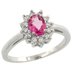 Natural 0.67 ctw Pink-topaz & Diamond Engagement Ring 14K White Gold - REF-48X6A