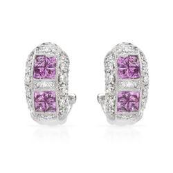 18KWhite Gold 1.92 CTW Sapphire & Diamond Earring - REF-148K9R