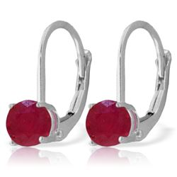Genuine 1.20 ctw Ruby Earrings Jewelry 14KT White Gold - REF-27V2W