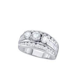 2 CTW Natural 3-Stone Diamond Bridal Anniversary Ring 14K White Gold