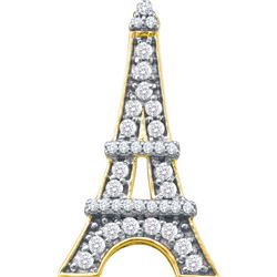 0.33 CTW White Diamond Eiffel Tower French France Pendant 10K Yellow Gold