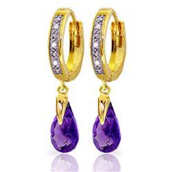 Genuine 2.53 ctw Amethyst & Diamond Earrings Jewelry 14KT Yellow Gold - REF-58H2X