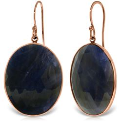 Genuine 40 ctw Sapphire Earrings Jewelry 14KT Rose Gold - REF-103R8P