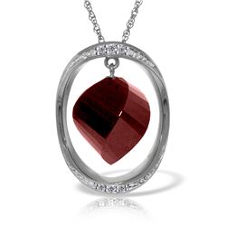 Genuine 15.35 ctw Ruby & Diamond Necklace Jewelry 14KT White Gold - REF-124T2A