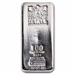 100 oz .999 Pure Silver Bar - Republic Metals Corp. (RMC)