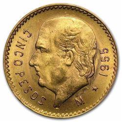 Gold Mexico 5 Pesos AGW .1205 1940's