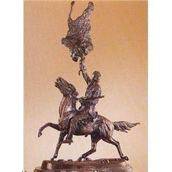 Frederick Remington  Buffalo Signal  Pure Bronze Sculpture Handmade in the USA 117 x10 x5