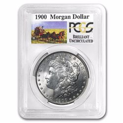 1900 RARE Stage Coach Series Silver Dollar BU PCGS Graded in slab