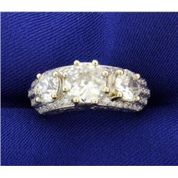 Antique 4.5 CT Total Weight Diamond Ring in Platinum