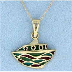 Italian Enamel 14K gold pendant with chain