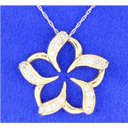 Diamond pinwheel flower pendant
