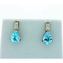 Pear Shaped Sky Blue Topaz Earrings in Sterling Silver