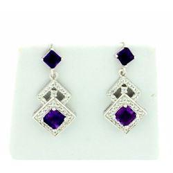 Art Deco Style Dangle Amethyst Earrings set in Sterling Silver
