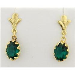 Gold dangle Earrings with Lab Emeralds