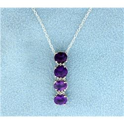 Amethyst and Diamond Sterling Silver Pendant with chain