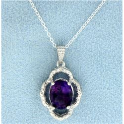 Amethyst and Diamond Pendant in Sterling Silver with Chain