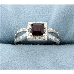 Garnet and Diamond Ring in Platinum over Sterling Silver