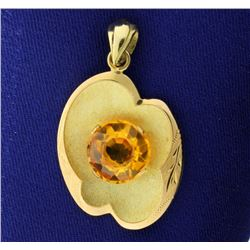 18k Yellow Gold and 4 Carat Citrine Pendant