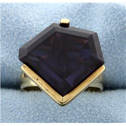 Huge 20 Carat Amethyst Ring in 14k Yellow Gold