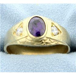 14k Amethyst and Diamond Ring.