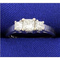 1ct Total Weight Three Stone Princess Cut Diamond Ring