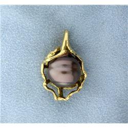 18K Yellow Gold Silver Pearl Pendant