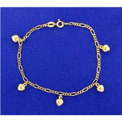 Figaro Chain Bracelet with 5 Dangling Hearts