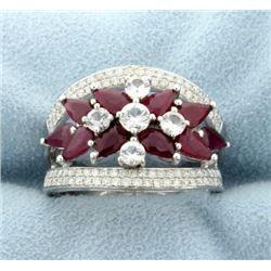 18k Ruby, Diamond, and White Sapphire Fashion Ring