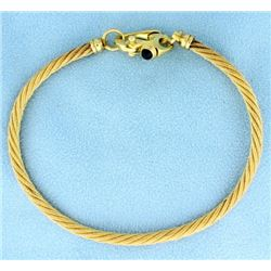 Gold Rope Bracelet with Sapphire