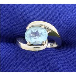 18k 3ct Sky Blue Topaz Ring