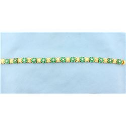 Emerald & Diamond Flower Bracelet