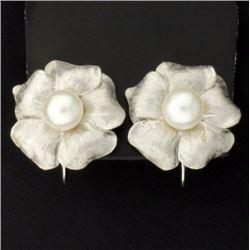 Clip-On Pearl Flower Earrings