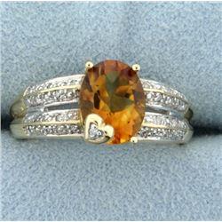 1.75ct Citrine and Diamond Ring