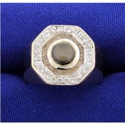 Black Star Sapphire and Diamond Ring