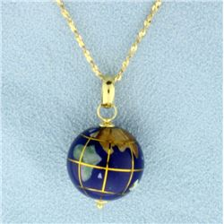 Globe Pendant on 16 inch Gold Chain