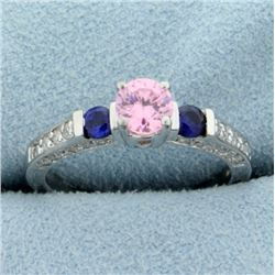Synthetic Pink & Blue Sapphire Ring