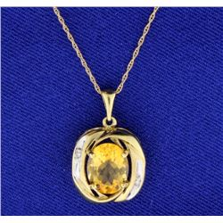 3ct Citrine and Diamond Pendant with Chain