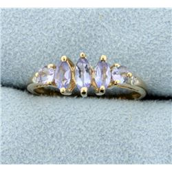 1ct TW Synthetic Tanzanite and Natural Diamond Ring